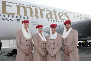 An Emirates airlines flight crew.