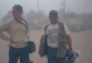 Doug and Eddie enjoy a sandstorm.