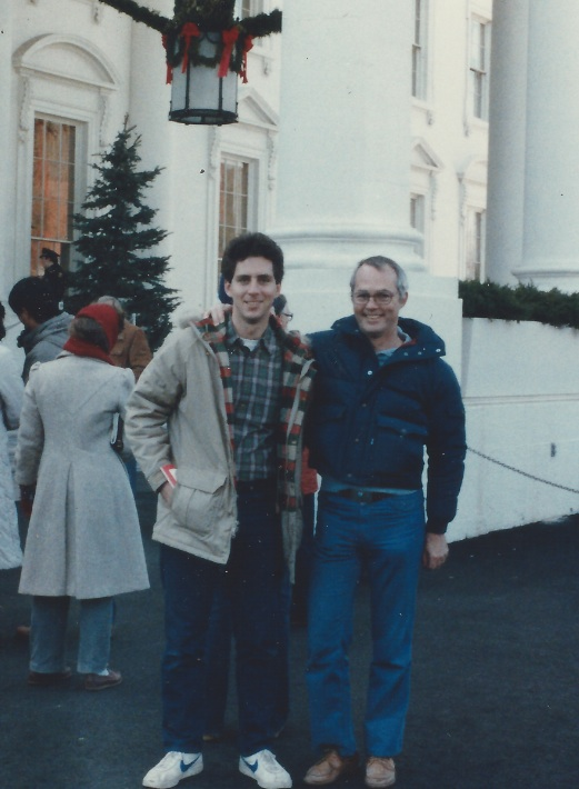With my dad, Dick Richards, at the White House.  My clothing and haircut were pretty ragged.
