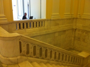 A squatter finds a spot in the Cannon House office building