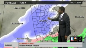 Chesley McNeal delivers the Winter Storm Warning on WXIA's 4am news Tuesday