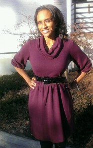 Portia Bruner: Clearance rack dress, thrift store belt.