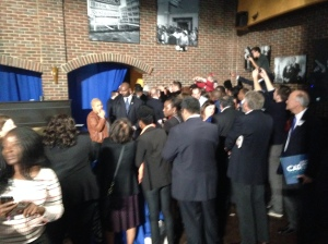 The corner of the room where I wanted to chat with Clinton, as viewed from the riser.